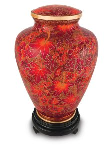 Autumn Leaves Cloisonné Urn